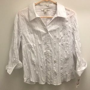 White blouse with flower detail